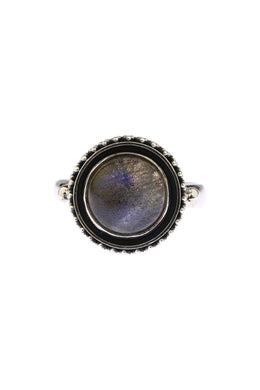 Labradorite Oxidised Silver Ring
