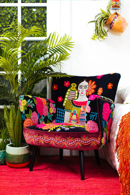 Frida Embroidered Velvet Armchair