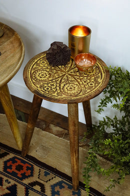Yellow Wash Floral Tripod Side Table