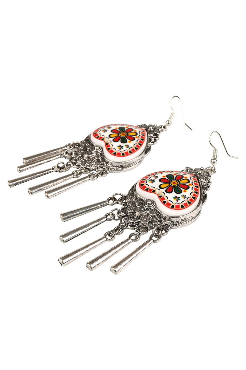 Red Painted Nomad Statement Earrings