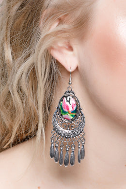 Embroidered Pink Statement Earrings