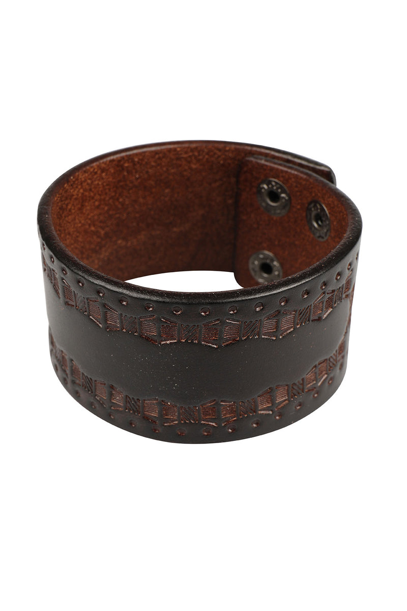 Stamped Dark Tan Leather Bracelet