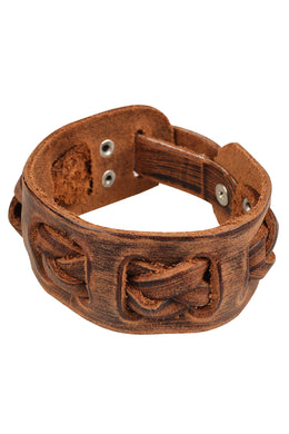Plaited Woven Tan Leather Bracelet