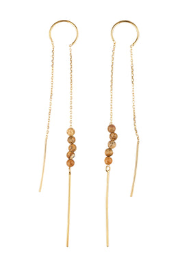Gold Plated Beaded Jasper Thread Earrings