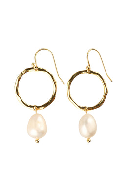 Freshwater Pearl Gold Plated Silver Hoop Earrings