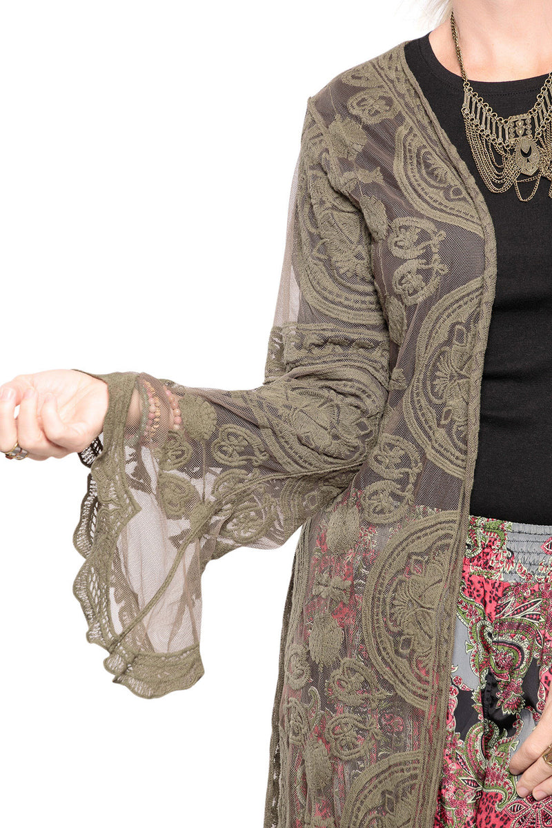 Embroidered Belle Sleeves Lace Duster