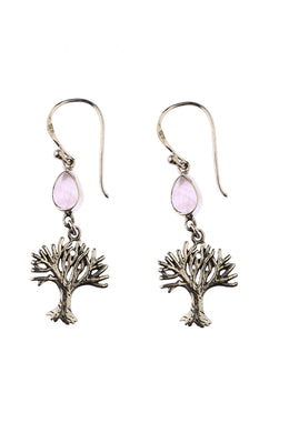 Tree of Life Rose Quartz Teardrop Earrings