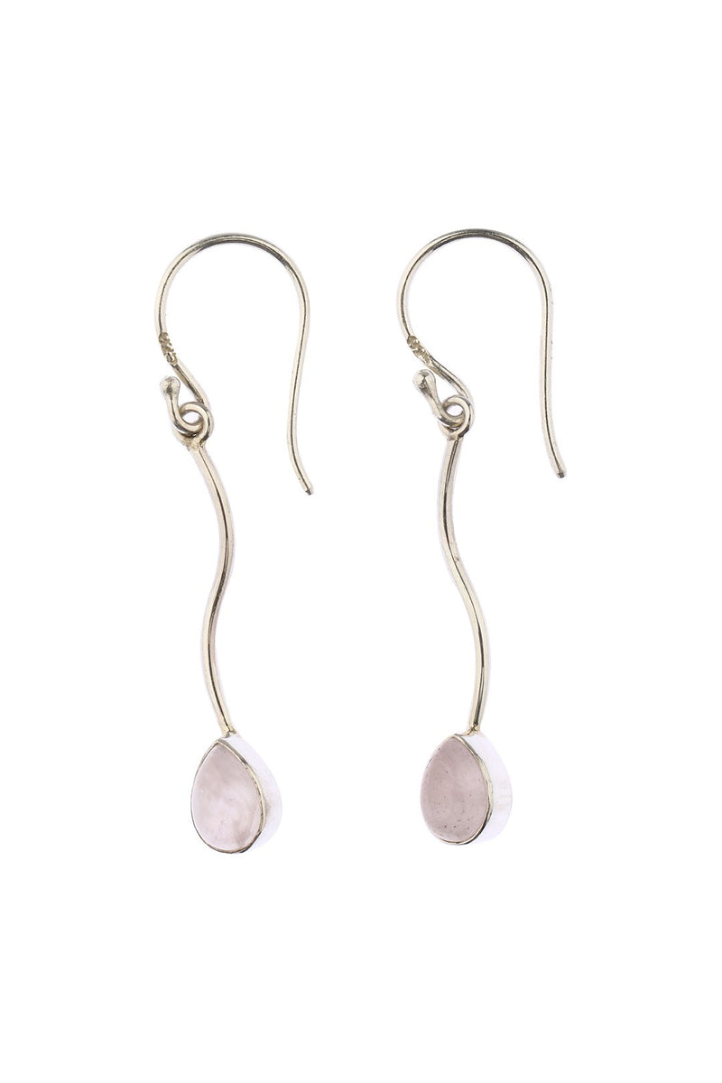 Rose Quartz Swirl Drop Earrings