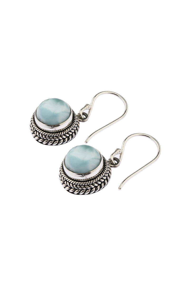 Circle Droplet Larimar Earrings
