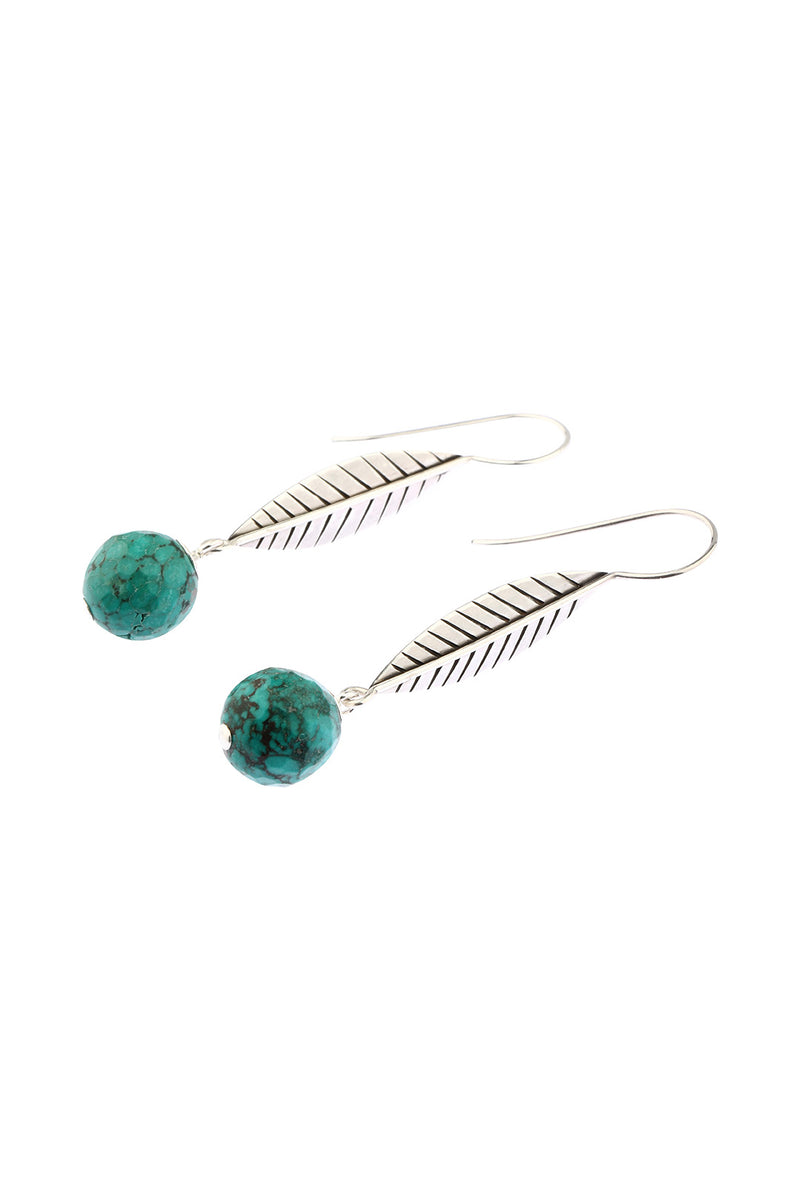 Feather Leaf Reconstructed Turquoise Earrings