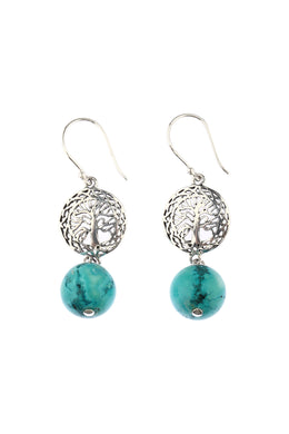 Tree of Life Reconstructed Turquoise Earrings