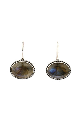 Side Oval Labradorite Earrings