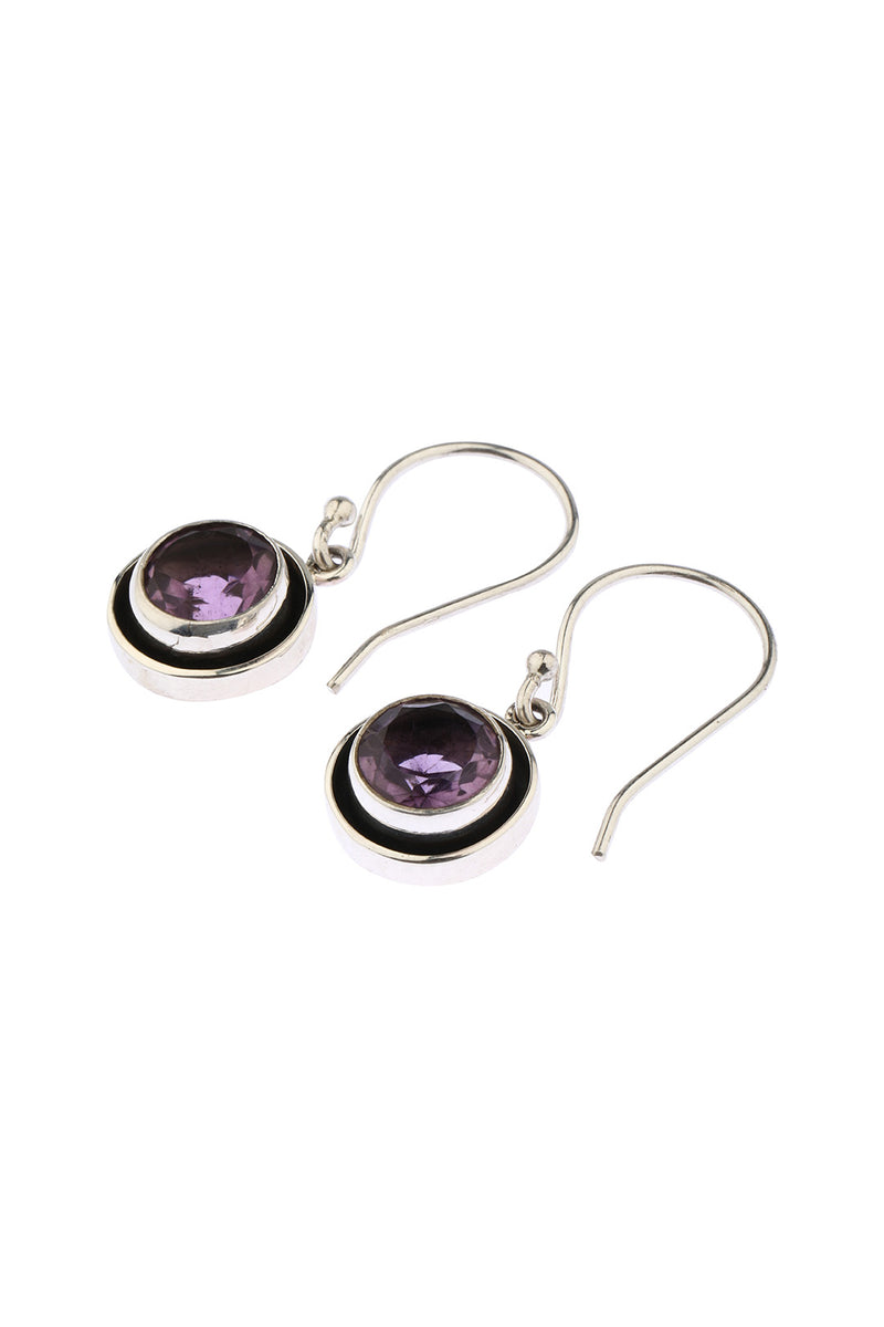 Round Oxidised Silver Amethyst Earrings