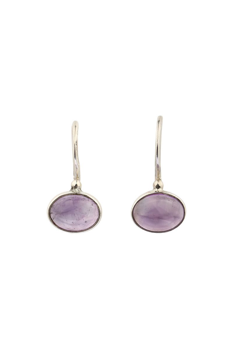 Simple Side Oval Amethyst Earrings