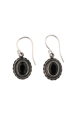 Tribal Setting Oval Onyx Earrings