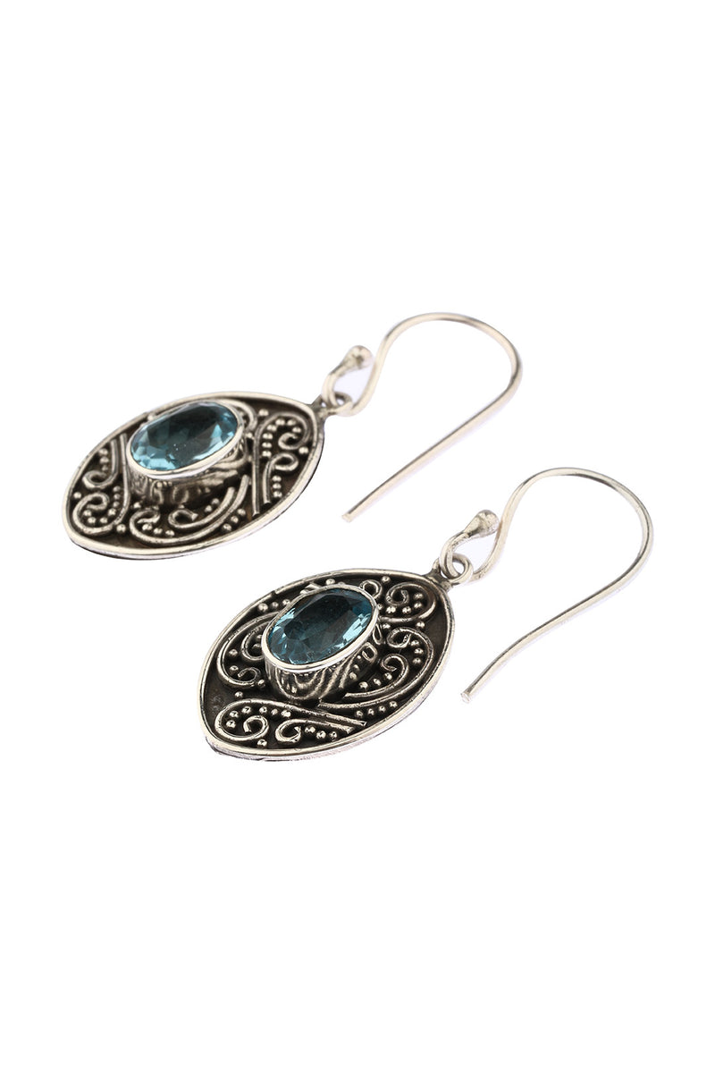 Swirl Shield Blue Topaz Earrings