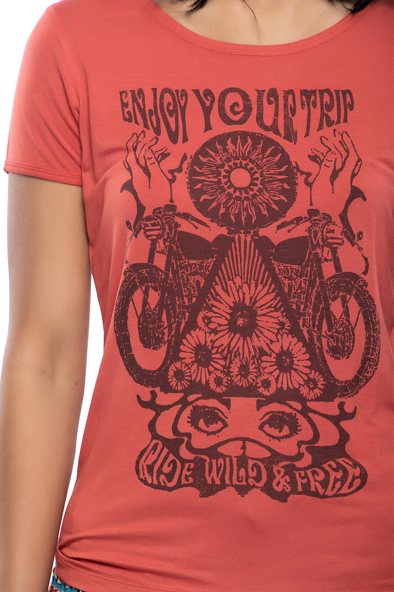 Top, Tee Vintage Ride Wild & Free Large Paprika