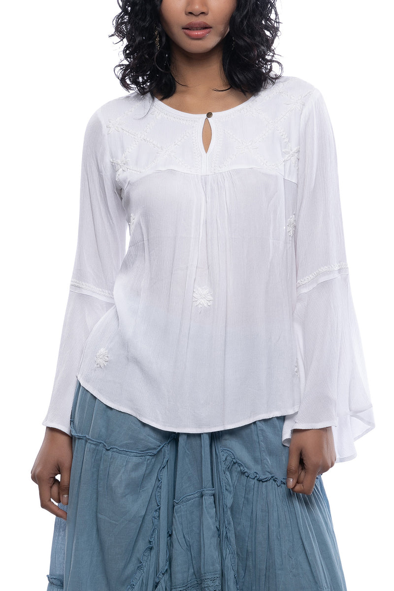 Embroidered Keyhole Peasant Blouse