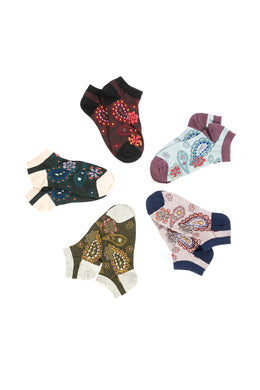 Womens Socks Ankle Paisley Assorted S19