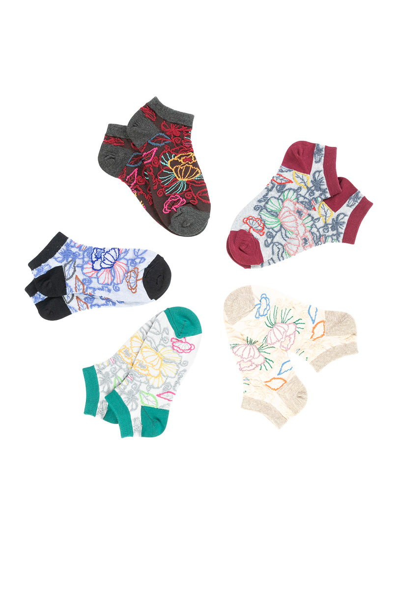 Womens Socks Ankle Floral Assorted S19