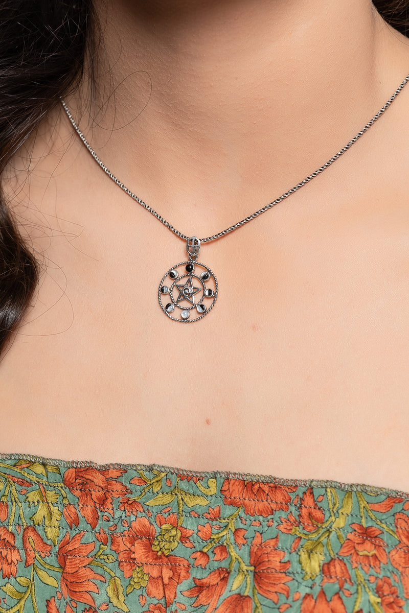 Moon Phases Pentagram Pendant