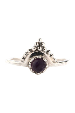 Amethyst Fine Crowned Silver Ring