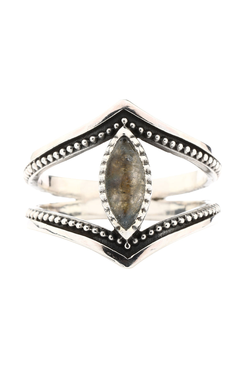 Labradorite Mirrored Marquise Silver Ring