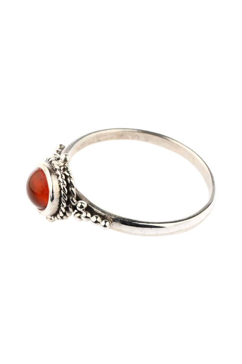 Tribal Carnelian Oval Silver Ring