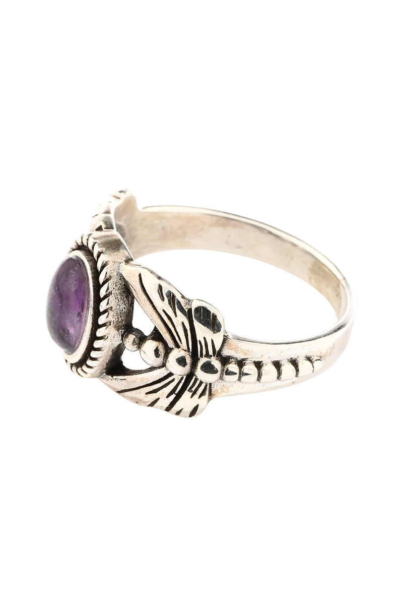 Amethyst Dragonfly Oval Silver Ring