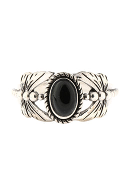Black Onyx Dragonfly Oval Silver Ring