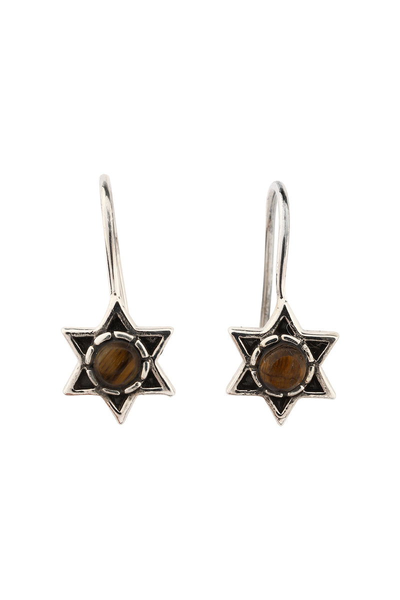 Star Gemstone Oxidised Silver Earrings