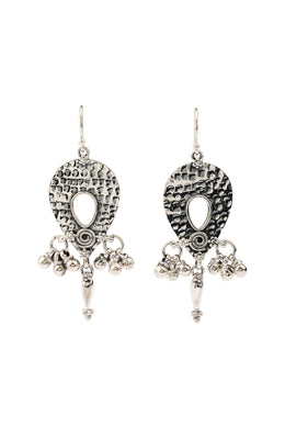 Statement Pebbled Silver Droplet Earrings