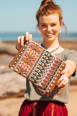 Earthy Aztec Beaded Clutch