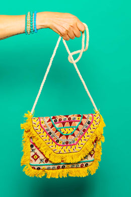 Mustard Fringe Embroidered Clutch