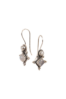 Freshwater Pearl & Moonstone Silver Earrings