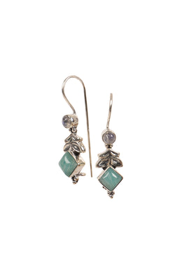 Moonstone & Amazonite Petal Droplet Silver Earrings