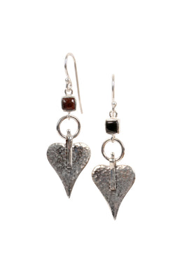 Black Onyx Heart Art Silver Earrings