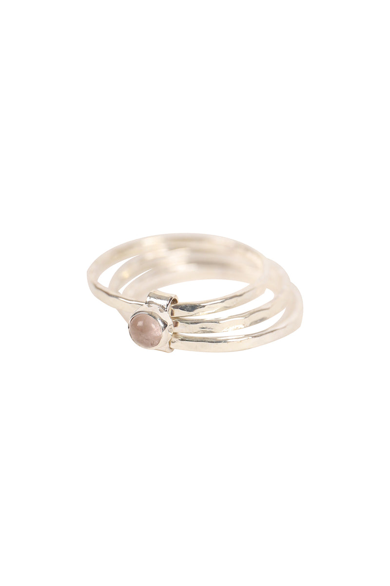 Three Stack Pebbled Silver Ring