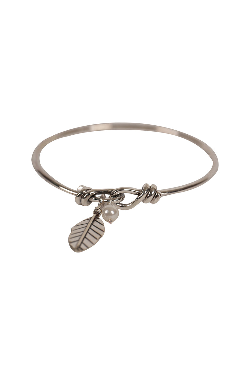 Feather Loop Silver Bangle
