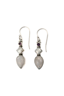 Three Gemstone Silver Earrings