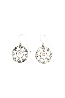 Pebbled Silver Cut-Out Sun Earrings