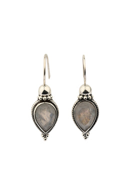 Gemstone Petal Teardrop Silver Earrings