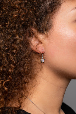 Dainty Gem Silver Star Earrings