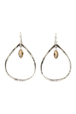 Irregular Open Teardrop Gemstone Silver Earrings