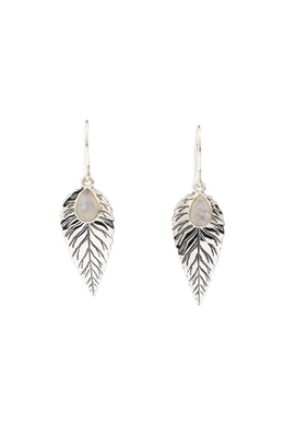 Feather Leaf Gemstone Teardrop Silver Earrings