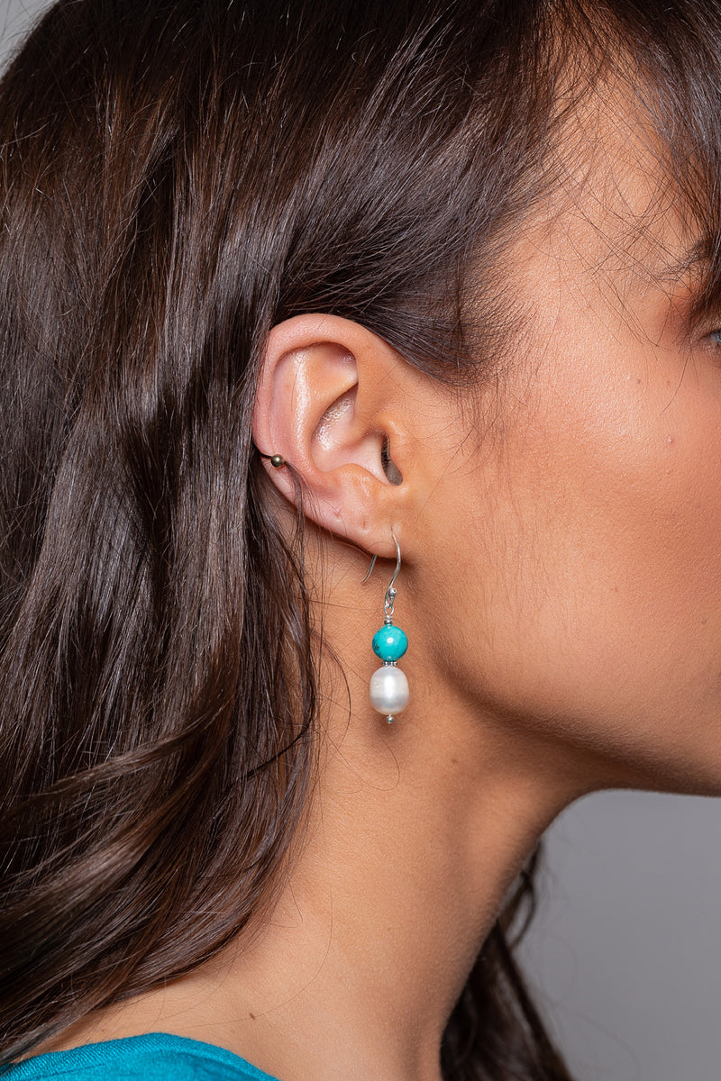 Reconstructed Turquoise & Freshwater Pearl Silver Earrings