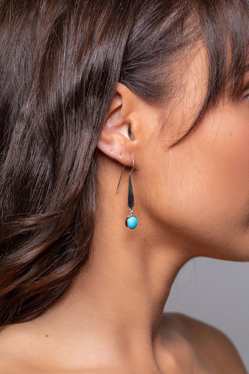 Turquoise Long Drop Silver Earrings