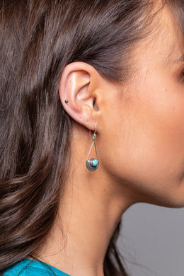 Turquoise Tribal Drop Silver Earrings