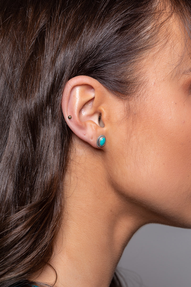 Turquoise Oval Stud Silver Earrings
