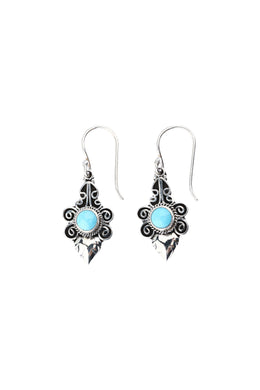 Turquoise Tribal Swirl Silver Earrings